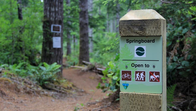 Signs mark the trails in the Alsea Falls Trails System southwest of Corvallis.