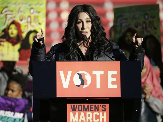 "Cher speaks at the Women's March: ""Power to the Polls"" event on Jan. 21, 2018, at Sam Boyd Stadium in Las Vegas, Nevada."