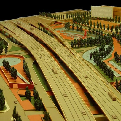 A model of the I-49 Lafayette Connector by the University