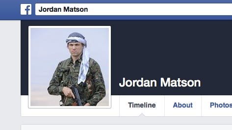 The Facebook page of Jordan Matson, a former U.S. soldier who now fights with the Kurds against Islamic State militants in Syria.