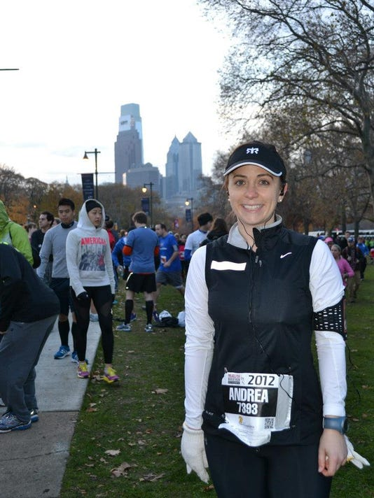 The start of the Philadelphia Marathon in 2012. I'm smiling because it wasn't my first marathon.