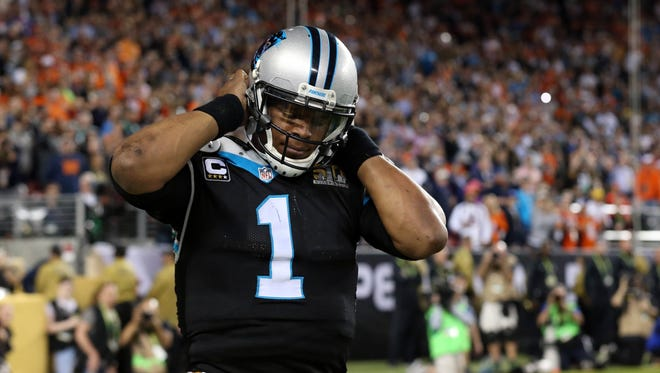 Carolina Panthers quarterback Cam Newton (1) reacts after a play during the fourth quarter against the Denver Broncos in Super Bowl 50 at Levi's Stadium.