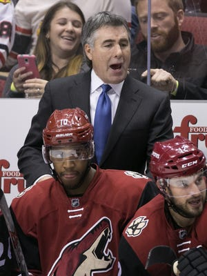 Coyotes head coach Dave Tippett coaches his team against the Blackhawks during the third period of the NHL game at Gila River Arena in Glendale on Tuesday, December 29, 2015.