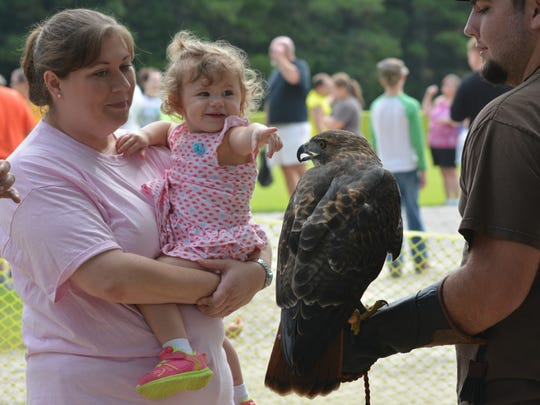 Cherie Franks holds daughter Claire Brewer, two months, as she points to the red-tailed hawk held by Marcus Smith. Falconry was part of the National Hunting and Fishing Day events held Saturday at the Woodworth Outdoor Education Center by the Louisiana Wildlife & Fisheries Department.