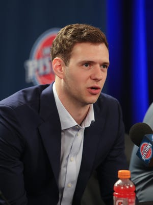 Detroit Pistons forward Jon Leuer talks with reporters Friday, July 8, 2016 at The Palace of Auburn Hills.