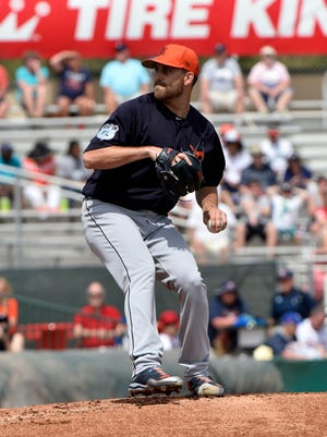 Tigers starting pitcher Matt Boyd throws against the Miami Marlins during a spring training game at Roger Dean Stadium on March 14, 2017.