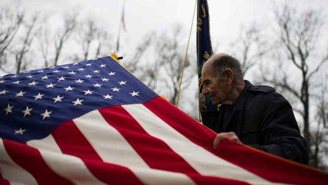 Korean War veteran Sigmond Ronis represents Jewish war veterans of the United States as a Veterans Day ceremony is held Wednesday, Nov. 11 at Landis Park in Vineland.