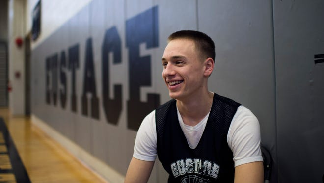 Bishop Eustace senior Eric Sobocinski poses inside the gym as the team holds practice Wednesday, Feb. 17 in Cherry Hill.