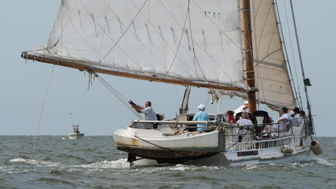 The Rebecca T. Ruark sails through the Tangier Sound during the 2016 Skipjack Race on Monday.