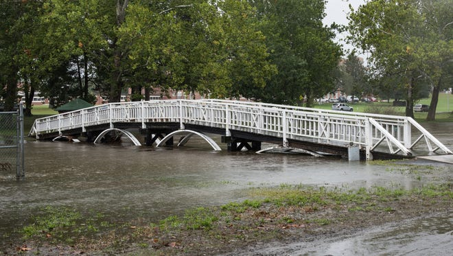 A view of the bridge at Salisbury City Park with higher than normal water levels.