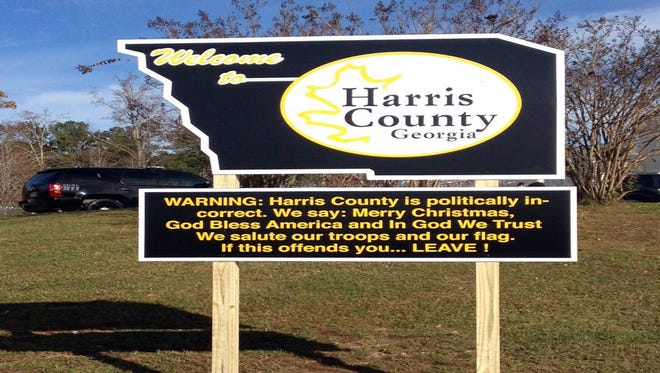 This image, provided by D&S Sign Company, shows a new welcome sign in Harris County, Ga.