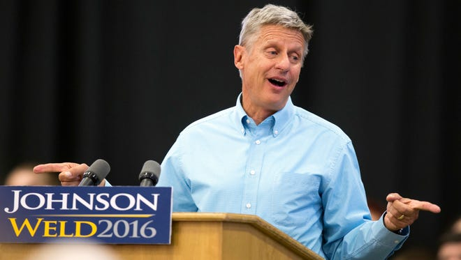 In this Sept. 3, 2016 file photo, Libertarian presidential candidate Gary Johnson speaks during a campaign rally in Des Moines, Iowa.