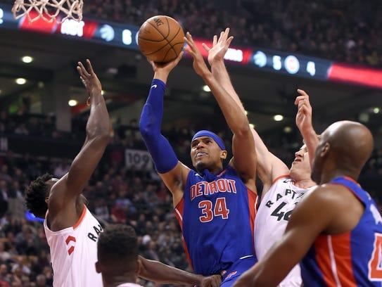 Detroit Pistons forward Tobias Harris (34) shoots for
