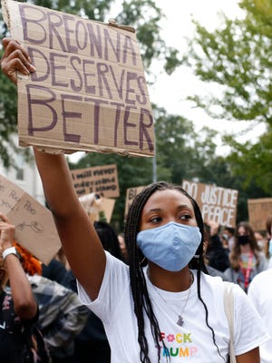 UGA students lead a Black Lives Matter protest in downtown for Breonna Taylor in Athens, Ga., on Friday, Sept. 25, 2020. The protest was the largest demonstration in Athens since the summer.