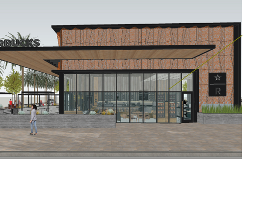 An architect's rendering of a new Starbucks planned for downtown Palm Springs