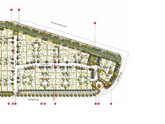 A site plan showing Canyon View, an 80-home subdivision in south Palm Springs.