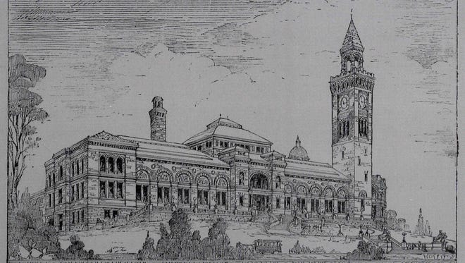 """An engraving of the Cincinnati Art Museum in """"Picturesque Cincinnati"""" shows the original design by architect James W. McLaughlin that features a clock tower and rounded east end that were not built."""