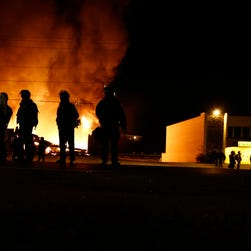 Several business burn during the riot.