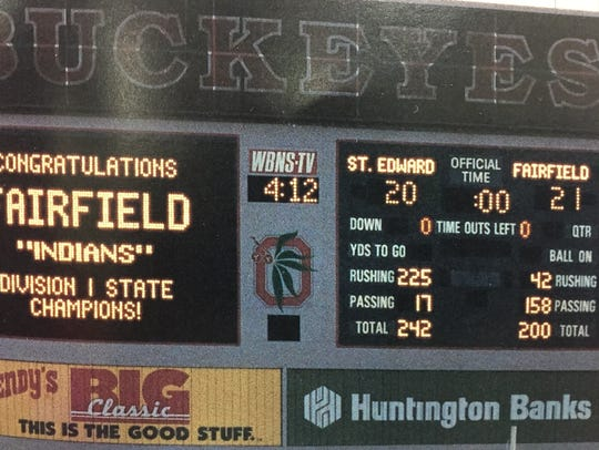 The Ohio Stadium scoreboard tells the story of Fairfield's