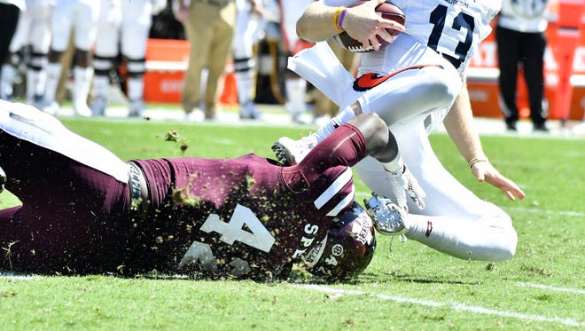 Mississippi State freshman Marquiss Spencer recorded his first career sack against Auburn last weekend.