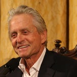 Actor Michael Douglas talks about his career as an actor and producer during a press conference at the George Eastman House in Rochester on Thursday. Douglas received the 69th George Eastman Award.