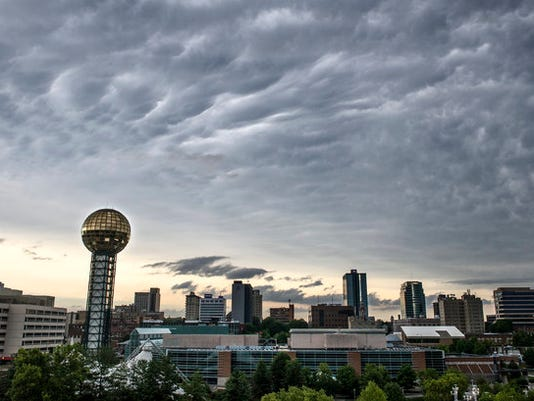 Knoxville skyline cloudy sunsphere