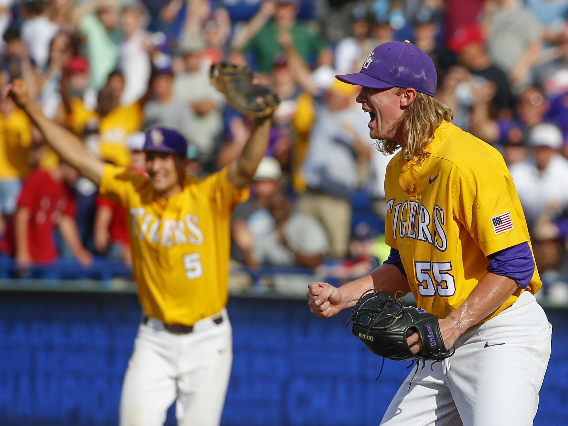LSU pitcher Hunter Newman (55) reacts after the last out to defeat Arkansas in the ninth inning of the championship game in the Southeastern Conference Tournament title.