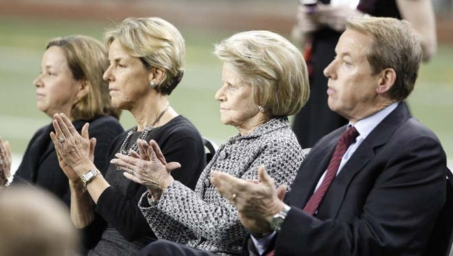 Detroit Lions vice chairman Bill Ford, Jr., right, with his mother Martha Ford in 2014.