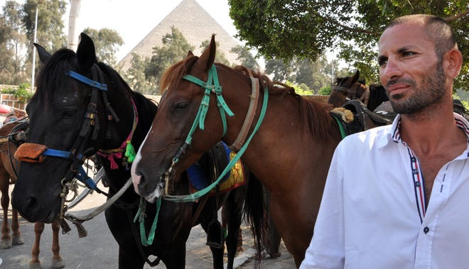 """""""My business died,"""" said Sabr Agaya, who offers tourists rides on a camel or carriage at the Giza pyramids."""