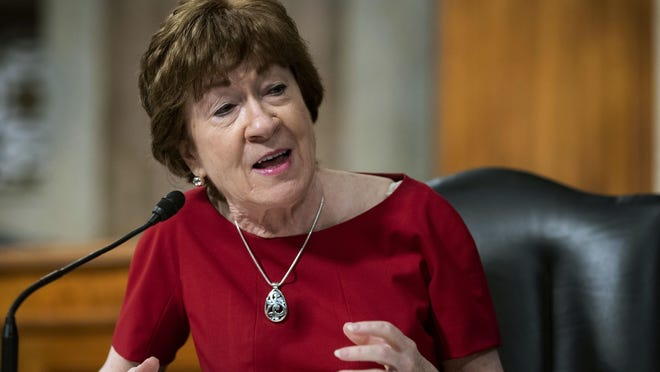 Sen. Susan Collins, R-Maine, speaks during a Senate Health, Education, Labor and Pensions Committee hearing on Capitol Hill in Washington on June 30, 2020. She will be the keynote speaker at Portsmouth Naval Shipyard Friday for an apprentice and work program graduation ceremony.