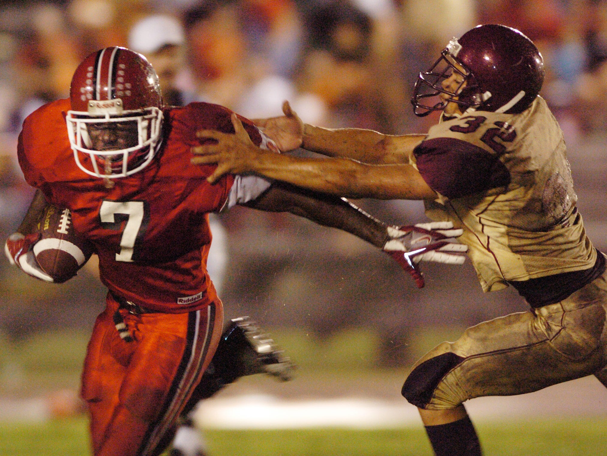 Riverdale' West Anderson tries to run down Noel Devine of North Fort Myers during the first half of action in North Fort Myers during a game in 2005.