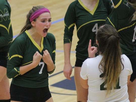 McNick's Ellie Feld (7) reacts during the Rockets'