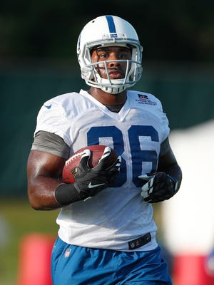 Indianapolis Colts tight end Erik Swoope (86) during preseason training camp Monday, July 31, 2017, morning at the Colts complex.