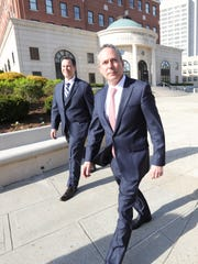Richard Brega, 50, left, and attorney Kerry Lawrence