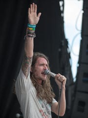 Derek Sanders of Mayday Parade, during the Vans Warped Tour, Ruoff Music Center, Noblesville, Tuesday, July 24, 2018. This is scheduled to be the last large tour of the festival which features a variety of music that trends toward hard core, rock and punk music.