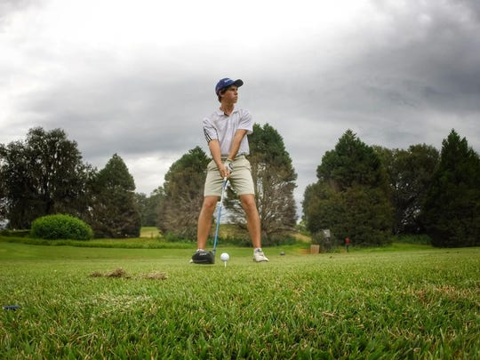 Maclay sophomore Bryson Bianco eyeballs his tee shot with driver during a round at Seminole Golf Course last week.