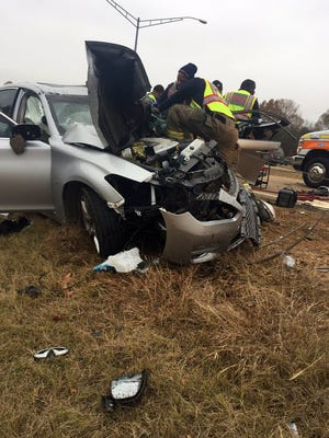 Three vehicles crashed on Nissan Drive in Canton, Miss. on Wednesday.