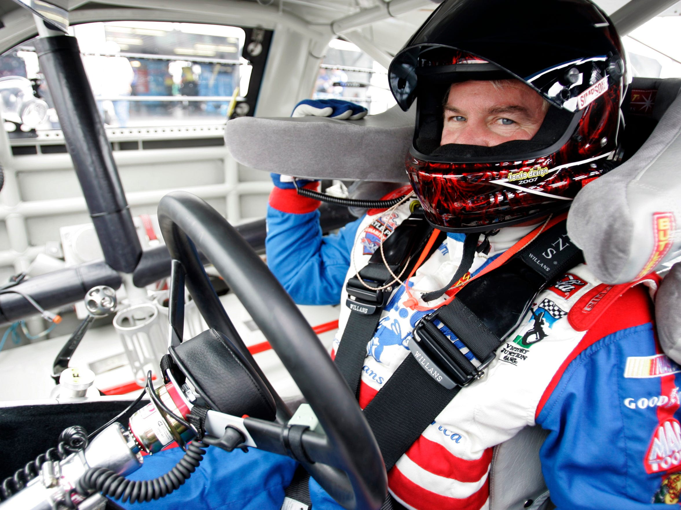 NASCAR driver Terry Labonte waits in his car to go out onto the track during practice for the NASCAR Sprint Cup Series Pocono 500 auto race in Long Pond, Pa., Friday, June 6, 2008. (AP Photo/Carolyn Kaster)