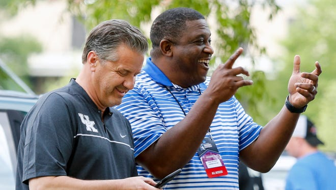Kentucky basketball coach John Calipari and Deputy Director of Athletics DeWayne Peevy joke around before the game. June 5, 2017