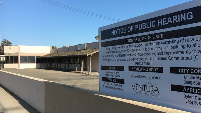 "A ""notice of public hearing"" sign is seen at  the proposed home of Rincon Brewery at 4100 Telegraph Road in Ventura. Owners of the combination restaurant and microbrewery opened the first location in Carpinteria in October 2014."