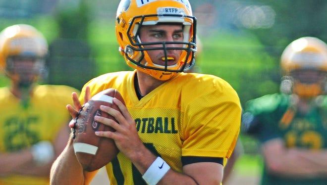 St. Norbert College quarterback James Tringali during the team's practice Friday at Schneider Stadium.