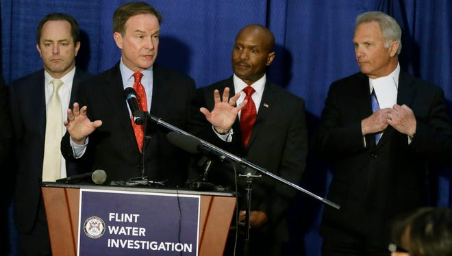 Michigan Attorney General Bill Schuette in Flint on April 20, 2016.