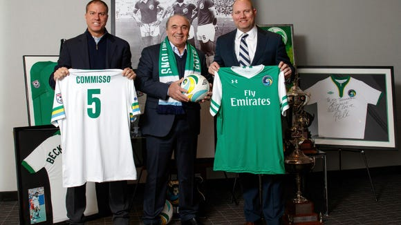 Cosmos coach Giovanne Savarese, new owner Rocco Commisso, and chief operating officer Erik Stover.