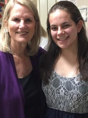 Hayley Nagelberg, right, of East Brunswick, a student at Golda Och Academy in West Orange, was presented with a Nancy and Robert Eskow NCJW/Essex Volunteer Award, bestowed to select graduating high school seniors who have shown a commitment and dedication to making life better for others locally or globally. She is pictured with Nancy Eskow.