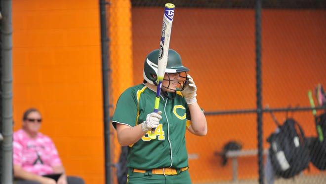 Clearview's Elaina Hansen steps up to bat last season against Cumberland. Hansen, a junior, notched her 100th career hit Thursday against Glassboro.