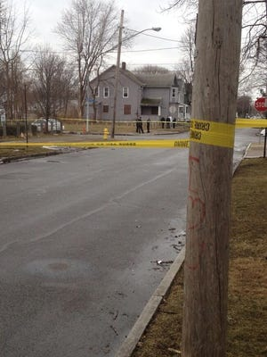 Police taped off the area around Reynolds and Tremont streets Friday evening as they investigated a shooting.