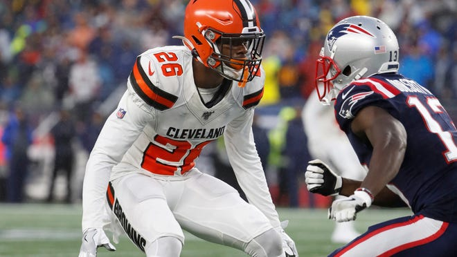 Browns cornerback Greedy Williams announced through Twitter that he is officially back but he is still recovering from a shoulder injury and the team hopes he will be ready to play for the 2021 season. [Winslow Townson/Associated Press file photo]