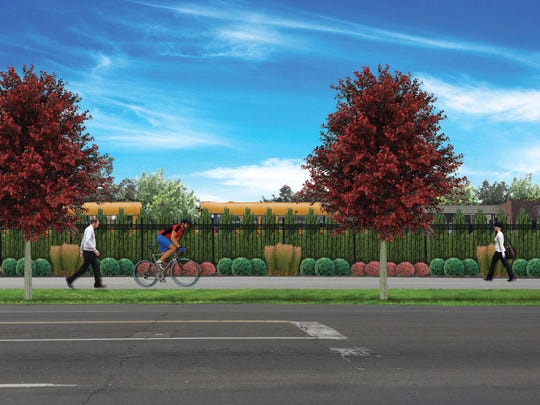 Under current plans for a proposed Greater Clark County Schools bus compound, school buses would be hidden from view on 10th Street.