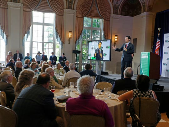 Wisconsin Gov. Scott Walker speaks at the winter meeting of the Club for Growth in Palm Beach, Fla., on Feb. 28.