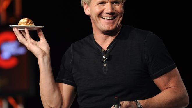 Gordon Ramsay shows television critics how to make a Baked Alaska dessert at the FOX Television Critics Association summer press tour in Aug. 2009.